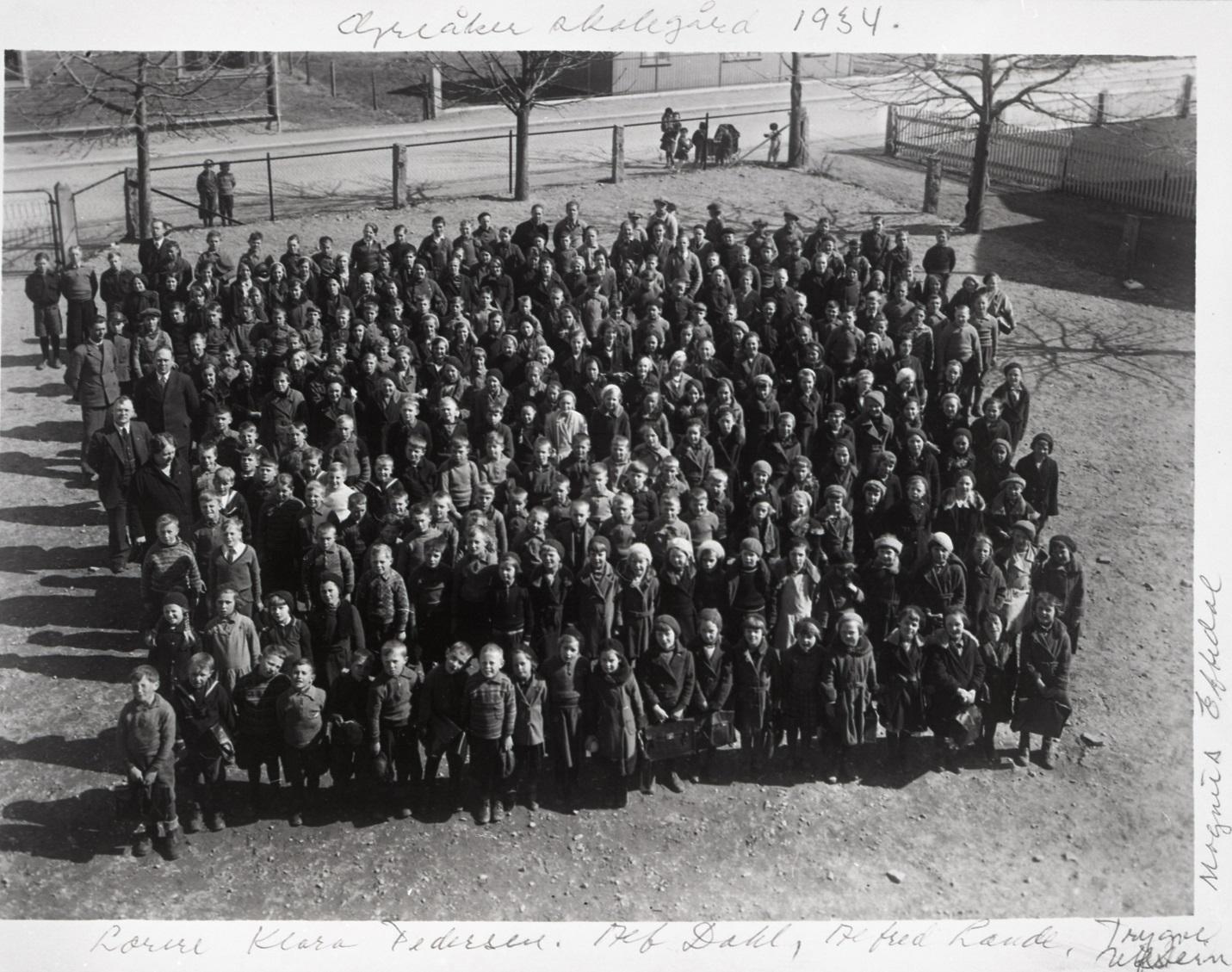 Greåker skoles elever i 1934