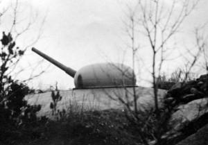 Kanonene på Greåker fort fotografert under krigen