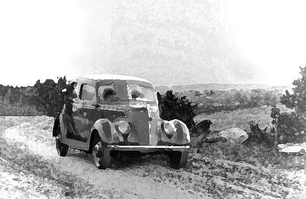Ford V8 1937 modell på vei i Tune like før krigen.  Illustrasjon: Erling Bakken