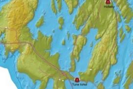 Illustrasjon av havnivået rundt Tune ved 5800 før Kristus