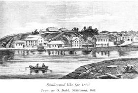 Sandesund 1869 etter tegning av O. Dahl