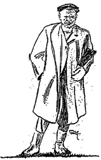 Strektegning som forestiller forfatteren av skillingsvisa, Anton Andersen alias Jumbo