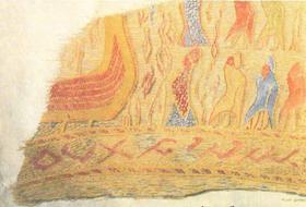 Vevd teppe funnet i gravfunnene på Rolvsøy