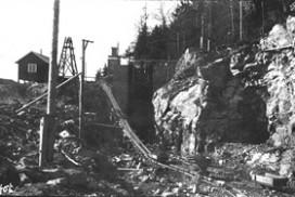 Tømmertunnelens innslag ved Vestvannet under byggingen