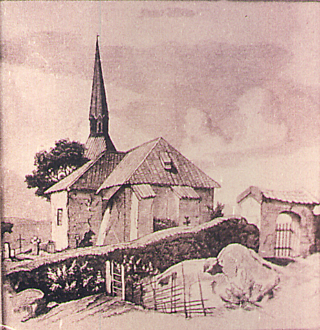 Tune kirke. Tegning fra 1734.