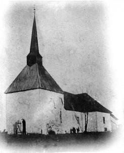 Gamle Tune kirke fotografert i 1860.